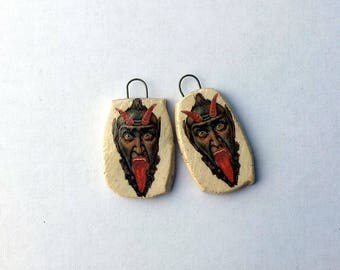 Crazy devil, Earring Dangles, Ceramic Decal, Donna Perlinplim,Scary devil Portrait, Extra Long Tounge, Hand Made Jewellery Supply,Funky Tags