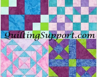 15 Inch Block Set 8 Paper Template Quilting Block Patterns PDF