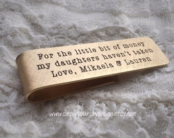 Dad Gift,Father's Day,Dad Christmas,Father of the Bride,Father Daughter Gift,Money Clip,Personalized Money Clip,Stamped Money Clip,Man Gift