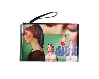 Fine Art Collection oil painting combination green portrait lady theme messager bag clutch
