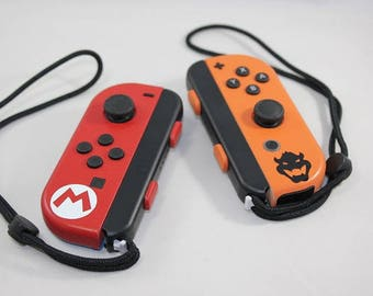Nintendo Switch Custom Set of Mario & Bowser Joy-Con Controllers - Ready to Ship IMMEDIATELY!