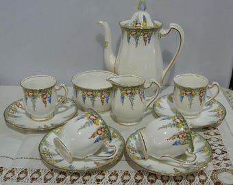 Vintage (Royal) Standard China Demitasse Set - Art Deco Coffee cups and saucers with pot