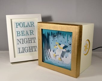 Polar bear ice skating night light, home decor, baby shower, winter home decor, bear birthday, baby birthday, nursery decor