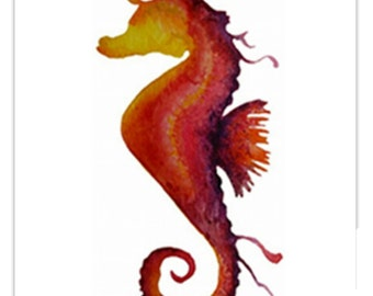 Sunset colours Seahorse ~pink and orange ~ watercolour art print A5