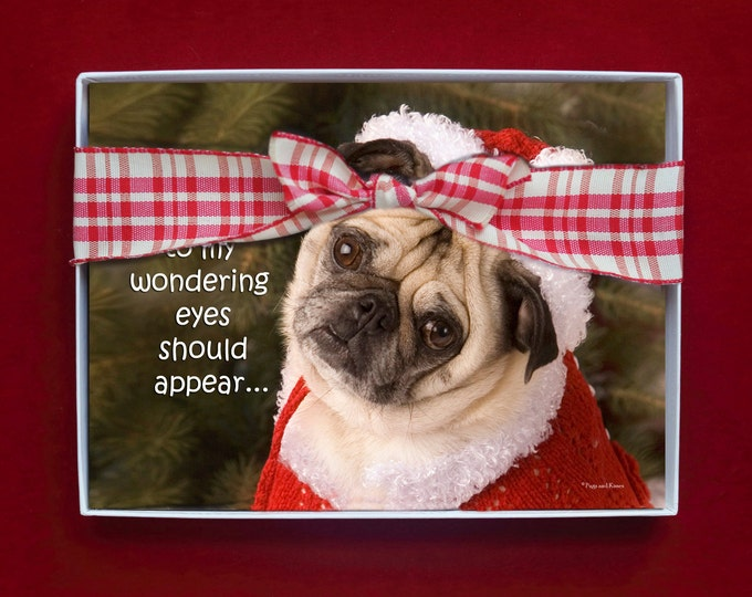 BOXED HOLIDAY Cards - Pug Holiday Cards - 5x7 - When What To My Wondering Eyes