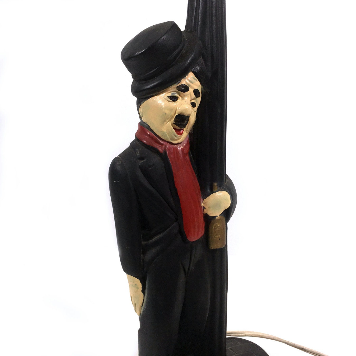 Vintage Lamp Post Drunk With Charlie Chaplin Style Hobo Base