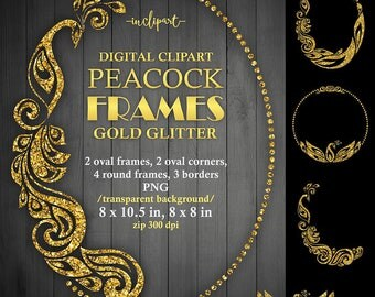 Peacock frame clipart. Digital Gold glitter oval, round frames, borders clipart.  Printable frame. Instant download PNG format. Business use