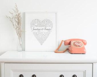 Wonderful Wedding Personalised Word Heart