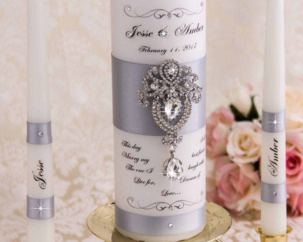 Wedding Candles: Silver Wedding Unity Candle Set Personalized Unity Candles