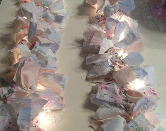 RA Pale Blue w/ Pink Roses Fabric 7.5 ft Lighted Garland