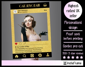 Large/medium Personalised Gatsby photo booth prop frame! The perfect prop for any Great Gatsby themed event!