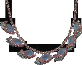 Vintage Sparkling Frosted Blue and Deep Pink Rhinestone Necklace