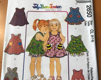 McCall's 2650 Girl's Dress, Top and Pull On Shorts, Size 6 - 8, UNCUT, Jelly Bean Junction Pattern