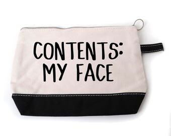 "Funny Cosmetic Make Up Bag - ""Contents: My Face"""