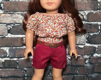 SALE - Fits 18 inch dolls such as American Girl - Peasant top - Rustic floral
