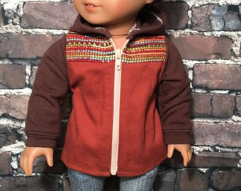SALE - Fits 18 inch dolls such as American Girl- Utility Hooded Jacket- Rust and Brown