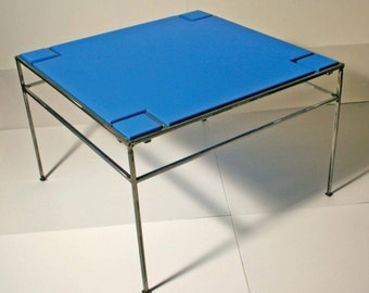Blue coffee table, Bauhaus style, Skinny coffee table