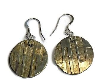 Rustic metal earrings, pewter dangle earrings, pewter earrings for women, silver bohemian jewelry earrings, girlfriend gift for her birthday