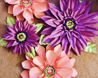 Paper Flowers set of 4. 16-20 inch