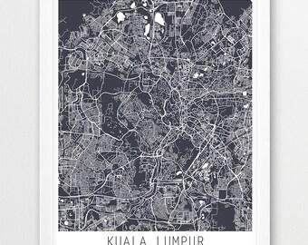 Kuala Lumpur City Urban Map Poster, Kuala Lumpur Street Map Print, Kuala Lumpur Grey Map, Modern Wall Art, Home Decor, Travel, Printable Art