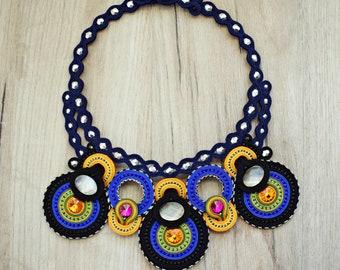 Colorful statement soutache necklace. handmade soutache jewelry. Hand embroidered soutache necklace.