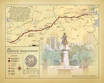 "Boston Marathon 11"" x 14"" vintage inspired running route map"