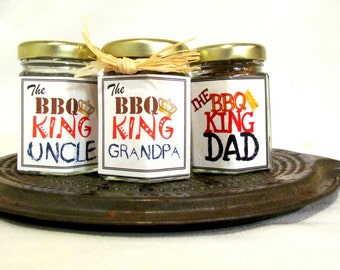 The BBQ King  Gourmet dry grill rubs for grilling Custom and personalized gift for dad grandfather stepfather brother uncle godfather