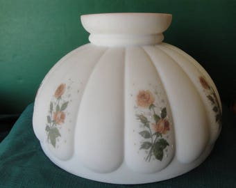 "Stunning 10"" Coleman/Aladdin Oil Lamp Shade, Pink Inside, Outside Hand Painted Floral Design With All Pink Inside."