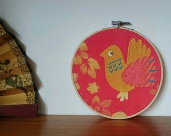 Appliqué Bird Embroidery Hoop Wall Art - Nursery - Fabric Wall Hanging