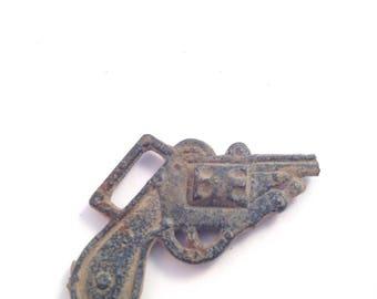 Antique Pistol Revolver Charm Pendant Game Piece