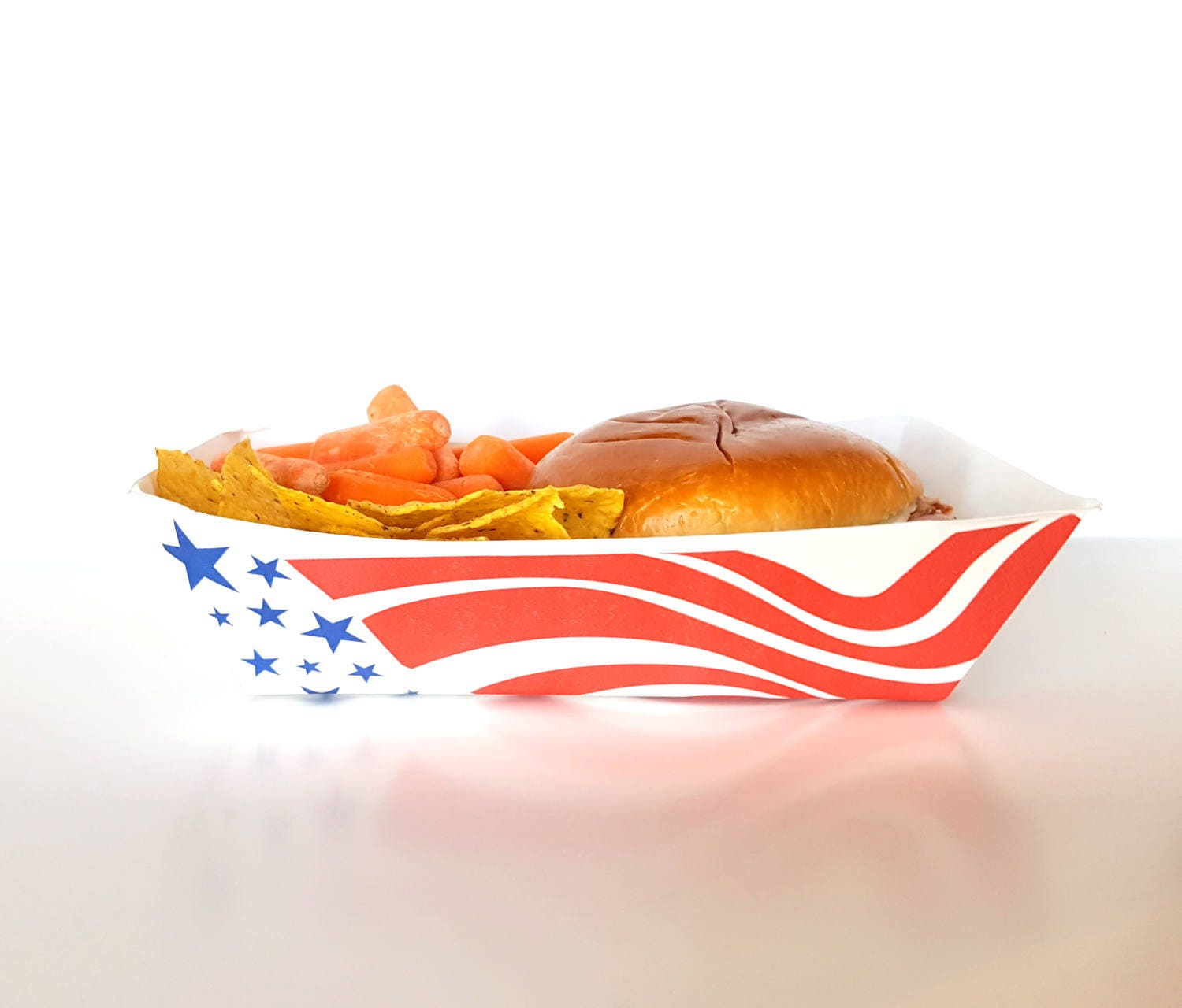 24 Extra Large American Flag Paper Food Trays 5 lbs Takeout