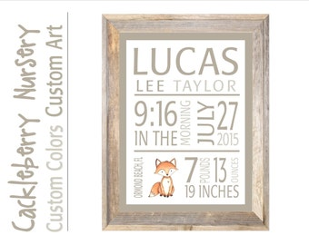 fox birth announcement, fox new baby boy, fox baby wall decor, fox baby stats wall art, woodland baby print, forest baby gift, birth print