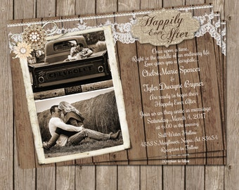 Happily Ever After Wedding Invitation, Fairytale Wedding, Rustic, Burlap and Lace Invitation, Fairytale Themed Invitation