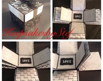 Love Explosion Box - Photo album box, Black, White, Gray