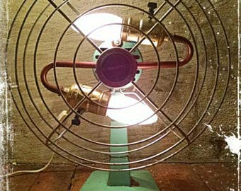 """Upcycled Vintage Eskimo Fan Lamp - 16"""" tall with a retro touch"""