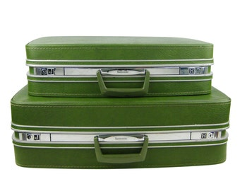 Vintage 1960s Samsonite Fashionaire Two Piece Avocado Green Suitcase Luggage Set, Stacking Nesting Suitcases Pair,Storage,Wedding Photo Prop