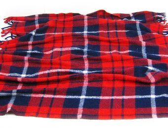 Vintage Fairbault Woolen Mills Co. Red, White, and Blue Plaid Blanket, Stadium Lap Throw Blanket, Picnic Blanket, 100% Acrylic Made in USA