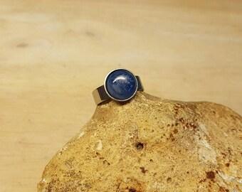 Mens Kyanite ring. Blue Reiki jewelry uk. Hypoallergenic steel adjustable ring