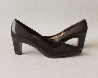 Vintage Peter Kaiser Womens Shoes  Brown Genuine Leather   Pointy Toe Pumps Heels Size 5.5