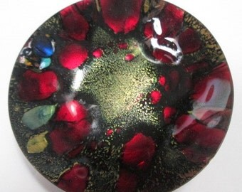Renowned Canadian artist  ARIST GAGNON mid- century abstract  enamel on copper red black gold pin dish signed.