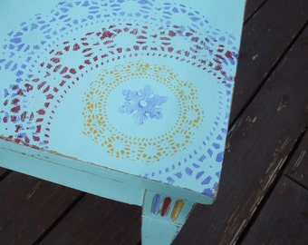 Vintage Turquoise End Table/Side Table Stenciled/Boho/Bohemian Style