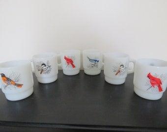 Vintage Bird Mugs - Set of 6 - Fire King Anchor Hocking Milk Glass Bird Lover Mugs - Cardinal, Blue Jay, Chickadee, Baltimore Oriole Birds