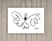 """Pablo Picasso """"The Butterfly"""" Oneliner poster on paper or canvas up to A0 size / Minimalist Art / Wall Art / Kids Room Decor"""