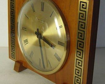 Modernist East German cherry wood and brass table clock Weimar quartz