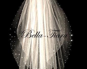 scattered crystal wedding veil, crystal wedding veil, crystal bridal veil, wedding veil with blusher