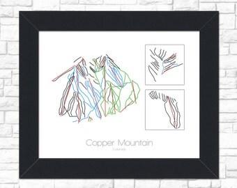 Copper Mountain Map Colorado  CO Ski Snowboard Trail Map Art --- Print, Poster, Picture --- Gift, Present --- Resort, Mountain, Snow, Winter