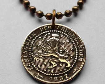 1878 - 1897 Netherlands 1 cent coin pendant DUTCH LION Holland necklace Nederlanden Amsterdam Utrecht sword crowned crown Leo n000445