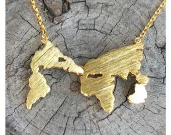 SALE- Gold World Map Necklace, Inspirational Necklace, Dainty Necklace, Simple Necklace, Everyday Necklace, Bridesmaids Necklace