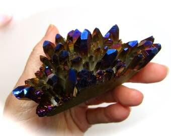 Rainbow Titanium Cobalt Blue Aura Quartz Crystal Cluster New Earth Energies 84mm 142g