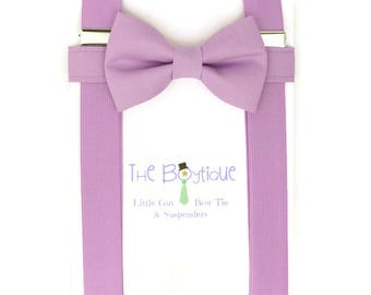 Wisteria Bow Tie and Suspenders, Adult, Mens, Toddler Suspenders, Baby, Kids, Boys, Ring Bearer Gift, Page Boy Braces, Light Purple, Violet